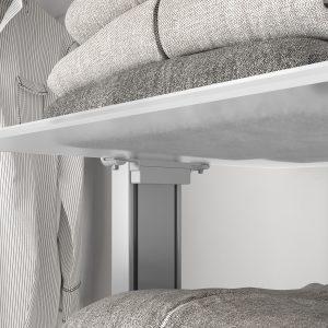 accesorio independiente para sujetar baldas de cristal en una estantería modular