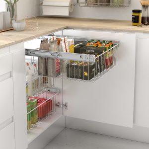 Cesto extraíble de rejilla para mueble de cocina ordenada