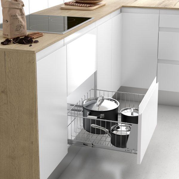 Cesto extraíble para guardar cacerolas y sartenes en la cocina de forma ordenada
