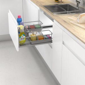 Cesto extraíble para alamacenar cosas de forma ordenada debajo del fregadero en la cocina