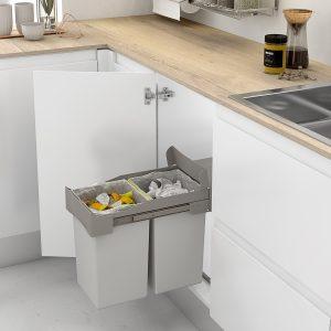Cubo de basura doble y extraíble para cocina moderna