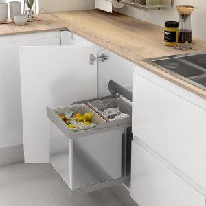 Cubo de basura de acero inoxidable y extraíble para reciclar en tu cocina
