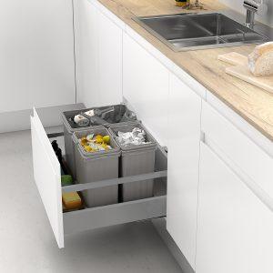Conjunto de cubos de basura con apertura automática para reciclar en la cocina
