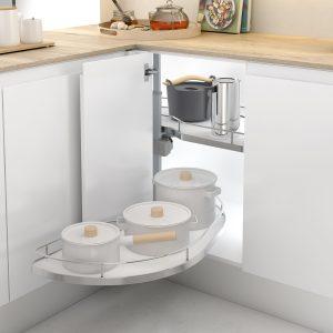 Cajón esquinero deslizante para almacenar cacerolas y sartenes en un especio esquinero de tu cocina de forma ordenada