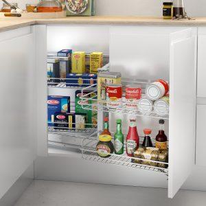 Bastidor extraíble para almacenar en el mueble esquinero de la cocina