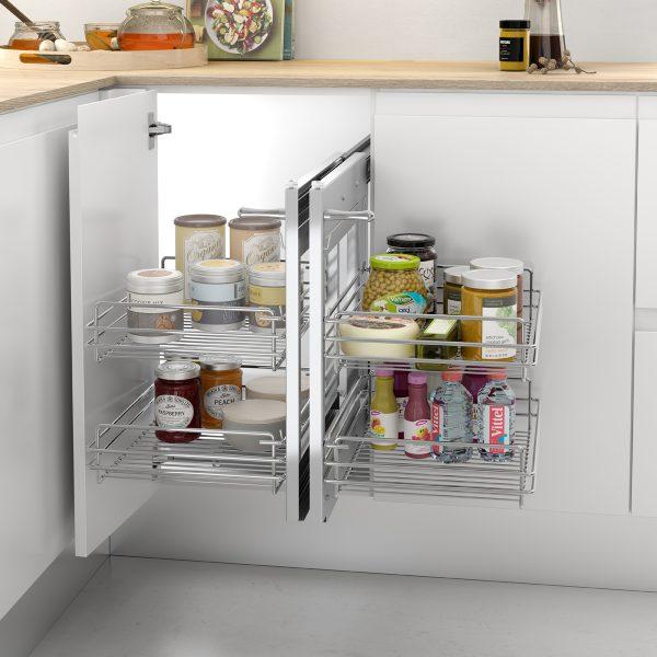 Bastidor extraíble de rejilla con dos bandejas para almacenar de forma ordenada en la cocina