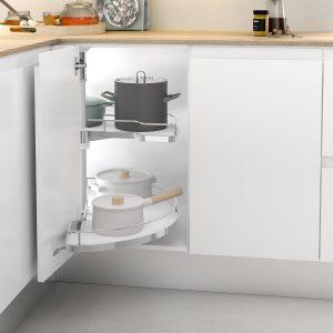 Bandeja antideslizante de diseño para almacenar cacerolas en el mueble esquinero de tu cocina