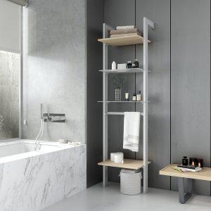 Estantería de un cuerpo diseñada para baños, modernos y antiguos