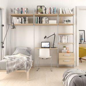 Estantería para habitación dormitorio compuesta por tres cuerpos y dos cajones