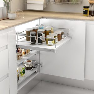 Cesto extraíble con base de melamina para almacenar cosas en la cocina