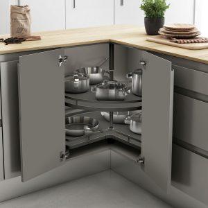 Bandeja giratoria de diseño para alamacenar objetos en una cocina ordenada