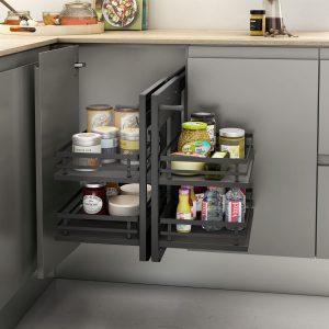 Bastidor extraíble, artículado y de diseño único para almacenar cosas en la cocina de manera ordenada