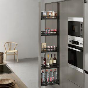 Columna extraíble de diseño único para ordenar la despensa en la cocina